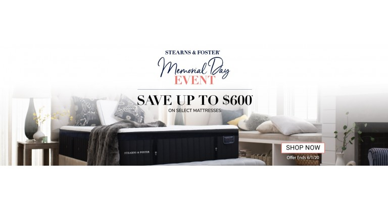 Stearns and Foster Memorial Day Sale 2020