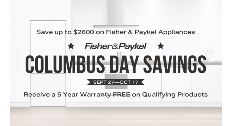 Fisher & Paykel Columbus Day Savings