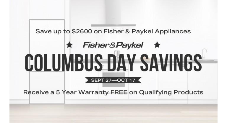 Fisher & Paykel Columbus Day Savings