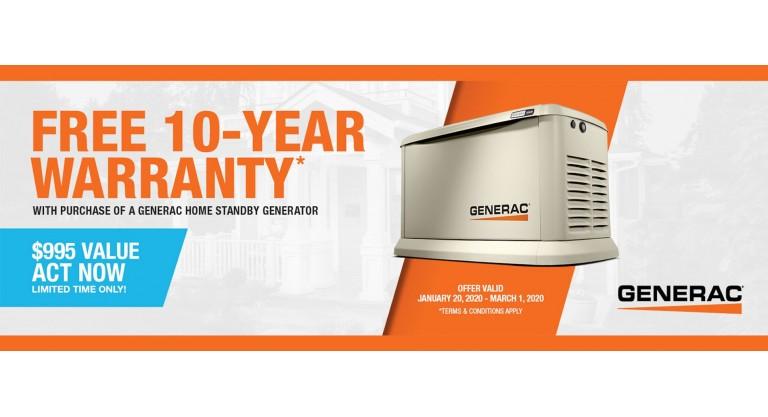 Generac: Free 10-Year Warranty