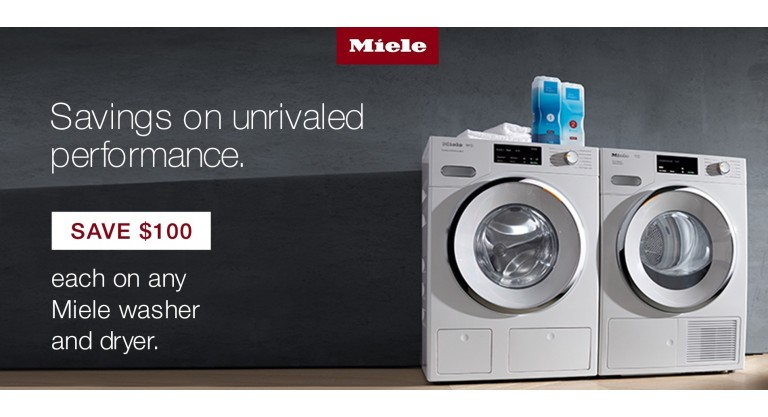Miele: Save $100 each on any Miele washer or dryer.