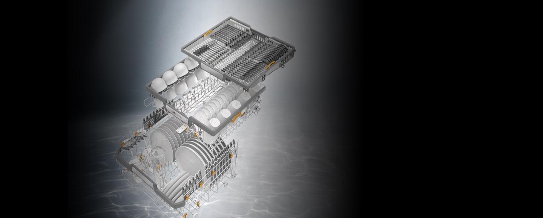 Flexline dishwasher baskets with 3D-Multiflex trays for Miele's new G 7000 Dishwasher